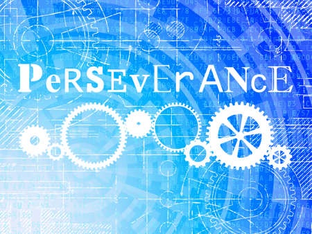 Perseverance word on high tech blueprint and data background Ilustração