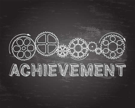 achieve goal: Achievement text with gear wheels hand drawn on blackboard background Illustration
