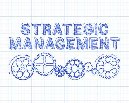 texte de gestion stratégique avec des roues dentées dessinés à la main sur fond de papier graphique