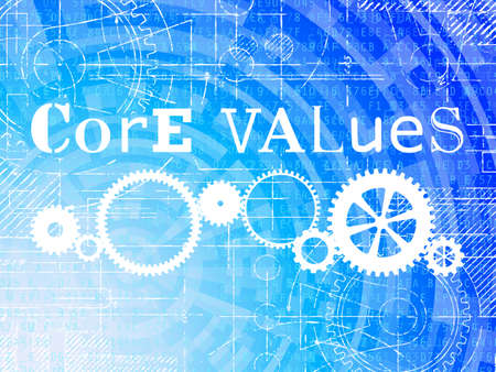 Core values word on high tech blueprint and data background  Illustration