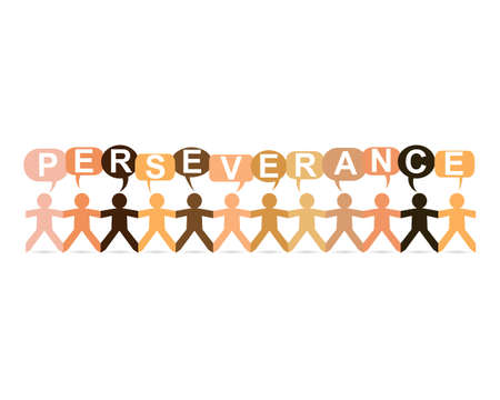 Perseverance word in speech bubbles with cut out paper people chain in different skin tone colors Ilustração