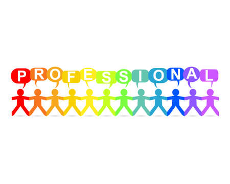Professional word in speech bubbles with cut out paper people chain in rainbow colors Illusztráció