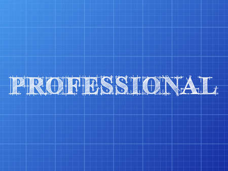Professional text hand drawn on blueprint background