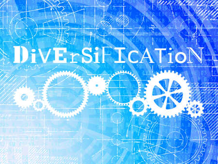 Diversification word on high tech blueprint and data background