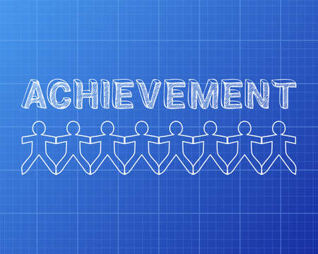 accomplish: Achievement text hand drawn with paper people on blueprint.