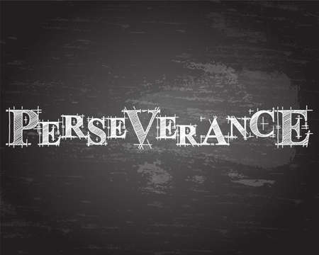 Perseverance text hand drawn on blackboard.