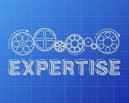 Expertise text with gear wheels hand drawn on blueprint.