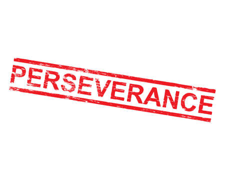 Perseverance grungy rubber stamp symbol.