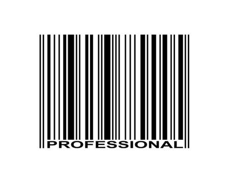 Professional word and bar code icon.