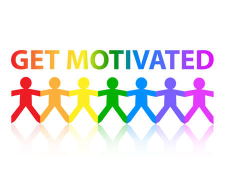 word: Get motivated cut out paper people chain in rainbow colors