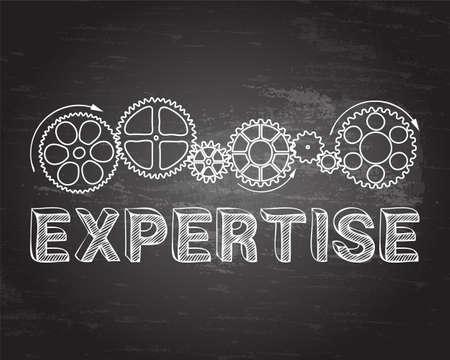 Expertise text with gear wheels hand drawn on blackboard background Illusztráció