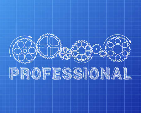 Professional text with gear wheels hand drawn on blueprint background