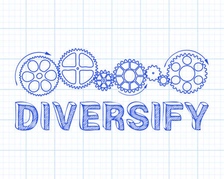 Diversify text with gear wheels hand drawn on graph paper