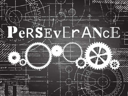Perseverance sign and gear wheels technical drawing on blackboard background Ilustração