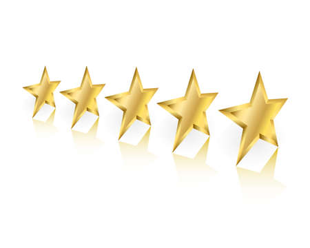 Five gold stars in perspective with reflection on white background