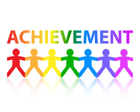 accomplish: Achievement cut out paper people chain in rainbow colors