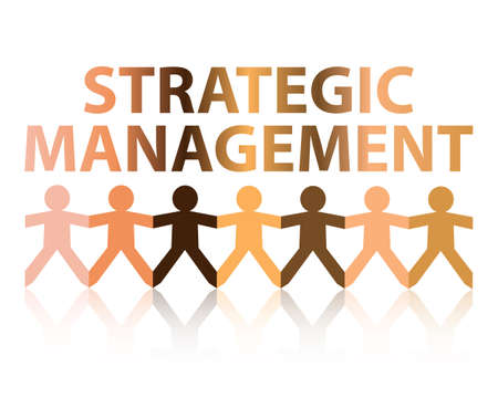Strategic management cut out paper people chain in different skin tone colors