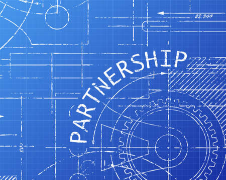 Partnership text hand drawn on blueprint background royalty free partnership text with gear wheels hand drawn on blueprint technical drawing background vector malvernweather Choice Image