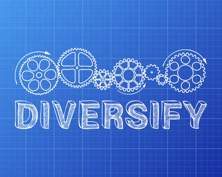 Diversify text with gear wheels hand drawn on blueprint background