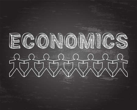Economics text hand drawn with paper people on blackboard background Illustration