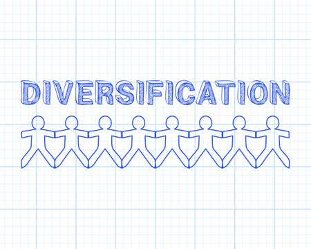 Diversification text hand drawn with paper people on graph paper background