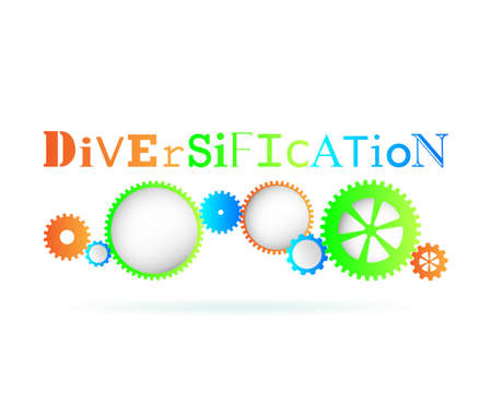 Diversification word above modern gear wheels Illustration