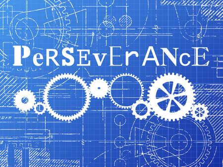 Perseverance sign and gear wheels technical drawing on blueprint background Ilustração
