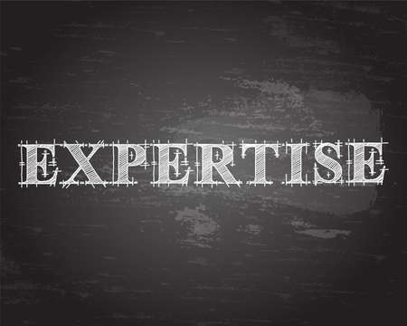 Expertise text hand drawn on blackboard background