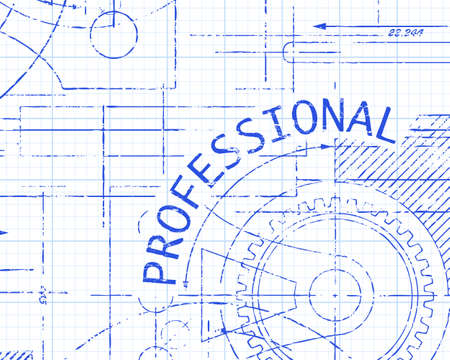 Professional text with gear wheels hand drawn on graph paper technical drawing background