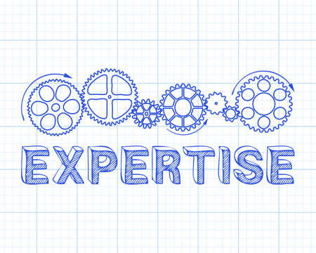 Expertise text with gear wheels hand drawn on graph paper background