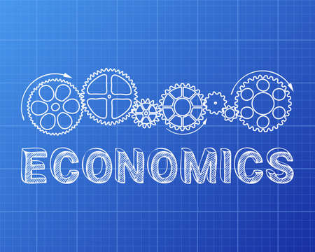 Economics text with gear wheels hand drawn on blueprint background Illustration