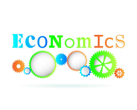 Economics word above modern gear wheels