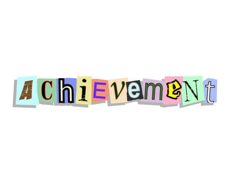 achieve goal: Achievement word in torn paper letters text