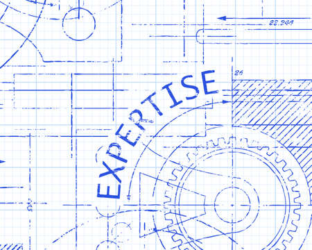 Expertise text with gear wheels hand drawn on graph paper technical drawing background