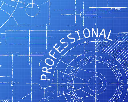 Professional text with gear wheels hand drawn on blueprint technical drawing background