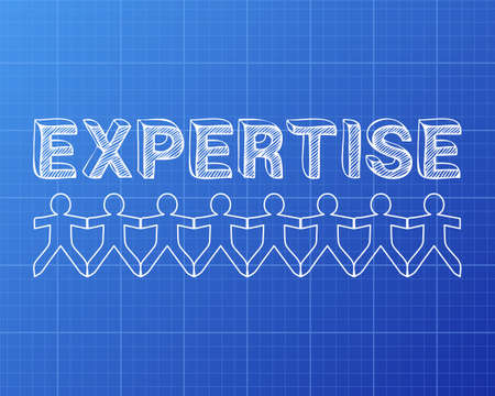 Expertise text hand drawn with paper people on blueprint background