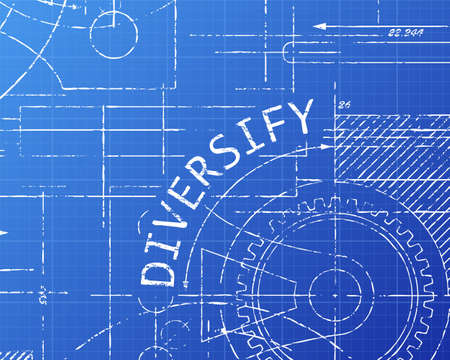 Diversify text with gear wheels hand drawn on blueprint technical drawing background