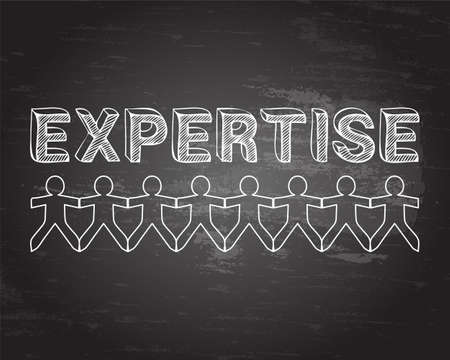 Expertise text hand drawn with paper people on blackboard background