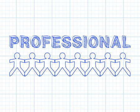 Professional text hand drawn with paper people on graph paper background Illustration
