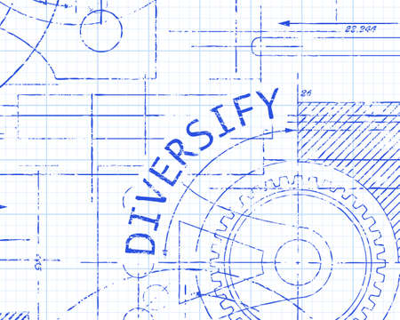 Diversify text with gear wheels hand drawn on graph paper technical drawing background