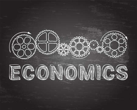 Economics text with gear wheels hand drawn on blackboard background