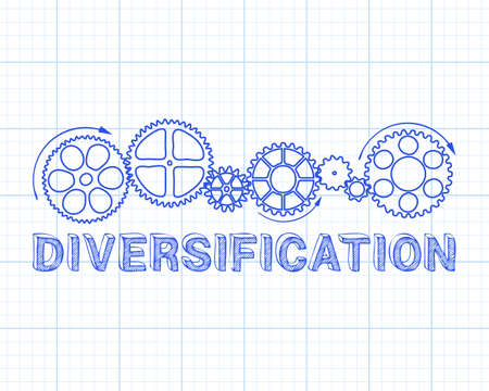 Diversification text with gear wheels hand drawn on graph paper background