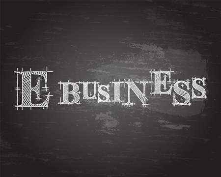 website words: E Business text hand drawn on blackboard background