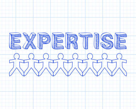 Expertise text hand drawn with paper people on graph paper background Illusztráció