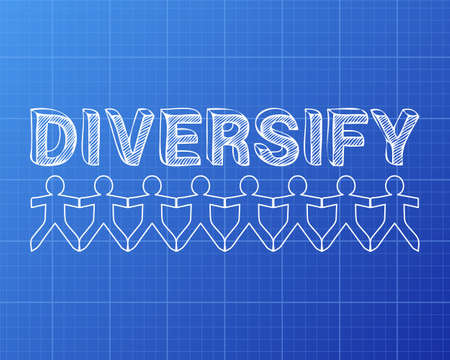 Diversify text hand drawn with paper people on blueprint background