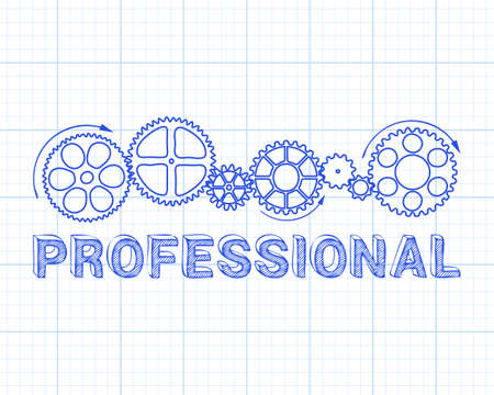 Professional text with gear wheels hand drawn on graph paper background