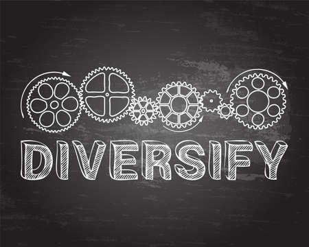 Diversify text with gear wheels hand drawn on blackboard background