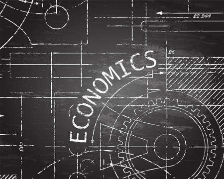 Economics text with gear wheels hand drawn on blackboard technical drawing background