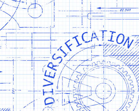 Diversification text with gear wheels hand drawn on graph paper technical drawing background