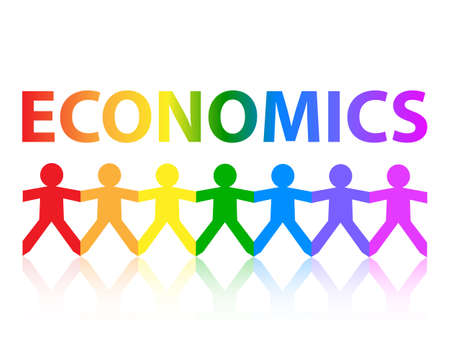 Economics cut out paper people chain in rainbow colors